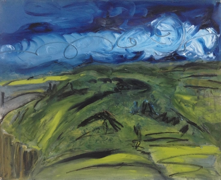 'Back end of the island', oil on Fabriano, 62 cm wide x 49 cm high