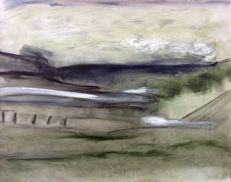 """""""A road less taken"""", 92 cm wide x 76 cm high, oil on Fabriano"""